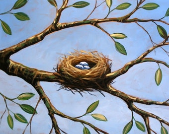 Bird nest art print, Hope For Spring -- 8 x 10 Glossy Print, great gift idea