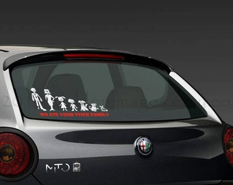 Custom Zombie modern stick figure family car decal, graphic decal, vinyl decal, decal, car sticker, stick figure decal, laptop sticker