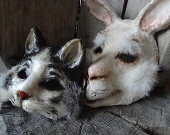 Paper mache white and black cat mask cat costume