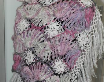 Pink & Grey Hairpin Lace Wrap