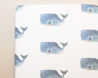Crib Sheet & More MADE TO ORDER Whales / Organic, Minky, or Cotton: Fitted Crib Sheet/Changing Pad Cover/Minky Blanket/Crib Skirt + More