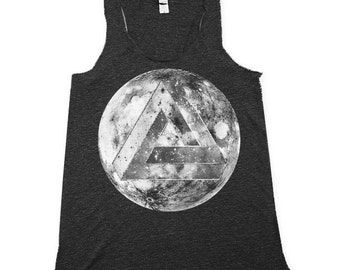 moon tank top, optical illusiotn tank, tank tops, heather black tank top, Small, Medium, Large, XL, 2X
