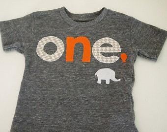 Grey white houndstooth and orange Elephant Tshirt Birthday shirt Customize colors Boys Girls Organic Blend Birthday Tee first birthday shirt
