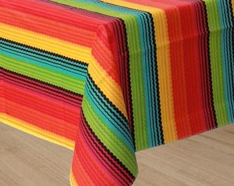 52 x 90 inch Vinyl Flannel Backed Reusable Fiesta Table Cover - Colorful Fiesta Stripe Tablecloth - Cinco De Mayo - Summer Party Fun!