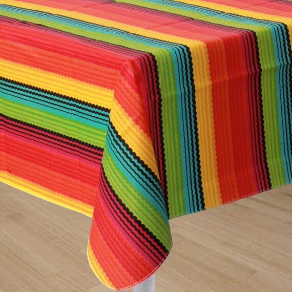 52 X 90 Inch Vinyl Flannel Backed Reusable Fiesta Table Cover   Colorful  Fiesta Stripe Tablecloth   Cinco De Mayo   Summer Party Fun! From  Favorboxboutique ...