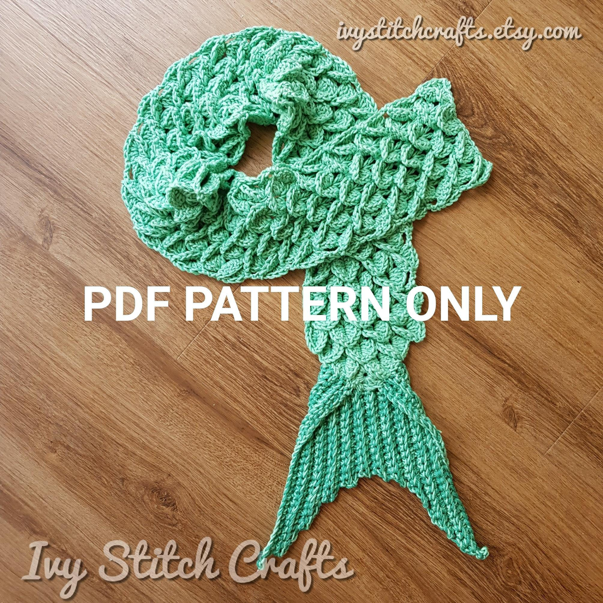Crochet Mermaid Tail Scarf Pattern / Winter Scarf / Dragon