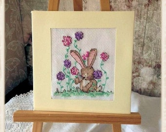 Bunny with Flowers Cross Stitched Card 5 x 5