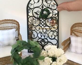 Miniature ornate floor mirror - black french mirror - Dollhouse - Diorama - Roombox - 1:12 scale