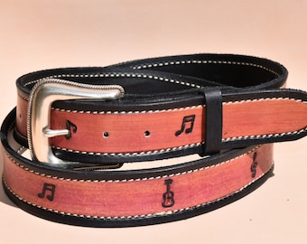 Music Note Leather belt, ready to ship