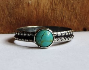 Sterling Silver & Turquoise Stacking Ring   Phat Stax Collection - Ripple   Genuine Engagement Ring, Boho, Size 8, Ready to Ship