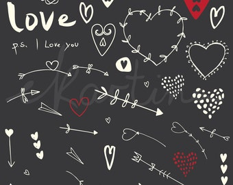 Hearts Clip Art,arrow clipart,drawings,Love Clip art,Save the day,creativity,graphic elements,Digital item,printable collection,b&w,