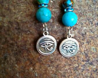 Turquoise Eye of Horus Earrings