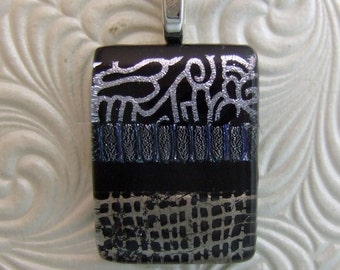 Silver Abstract Dichroic Charm, Handmade Fused Glass Jewelry from North Carolina