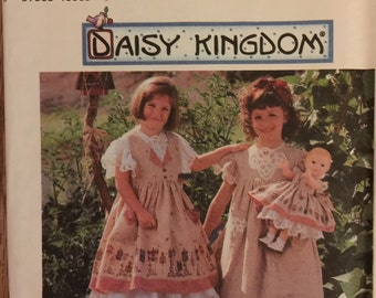 VTG 7029 Simplicity (1996). Daisy Kingdom. Girl's pinafore, dress, 18 inch doll clothes.  Complete, unused, FF. Excellent condition.