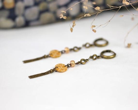 Boho style earrings, spicy yellow earrings, long earrings, bronze tassel, handmade patterns 'Mahonia'