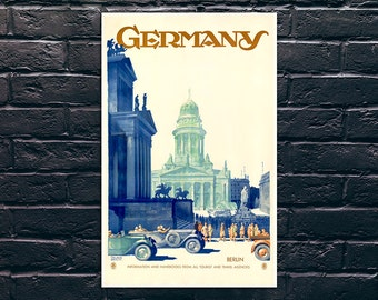 Germany Vintage Travel Poster, Germany Travel Print, Quality Poster, Vintage Travel Poster Print, Sticker and Canvas Print