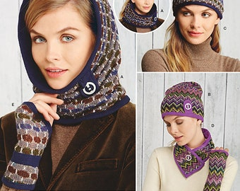 UNCUT Misses' Accessories Sewing Pattern Simplicity 1216 Cold Weather, Hat, Scarf, Mittens, Arm Warmers, Knit Pattern
