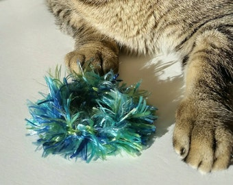 Cat and Ferret Toys, Recycled Rings Toy, Blue Green, Gift Gifts for Cats, Ferrets, Mice, Mouse, Rats