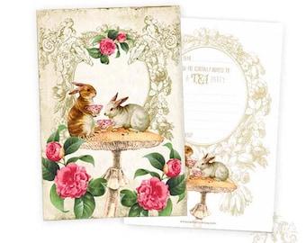 Rabbit invitation cards, Easter cards, shower tea, kitchen tea, birthday party, tea party invitations, set of 4