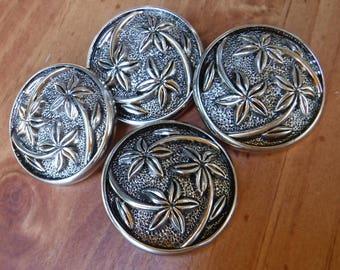 "5 Silver 3 Flower Shank Buttons Size 1 1/4"""