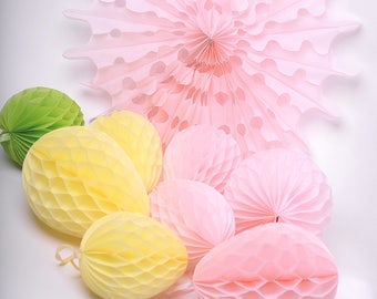 Paper easter eggs honeycomb decorations  - easter decorations / spring decor - CUSTOM COLOR-baby bridal shower