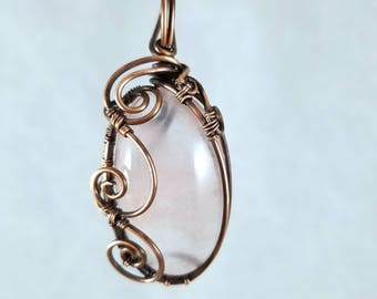 Light Pink Rose Quartz Oxidized Copper Wire Wrap and Weave Handmade Pendant One of a Kind Gemstone Crystal Jewelry