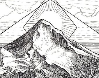 Mt Hood 8x8 Print - Mountain Art Giclee Print - Mount Hood, Portland, Oregon