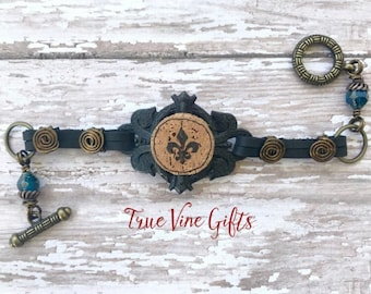 Wine Cork Bracelet with Fleur de Lis on Black Leather