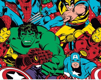 Marvel Comics Marvel Group Collage - Camelot Fabrics - Cotton fabric - Choose your cut