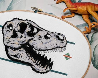 T-Rex Dinosaur Skull Cross Stitch Pattern PDF - Modern Cross Stitch Sampler - Instant Download