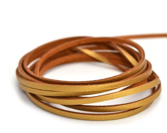 Gold faux leather and suede cord