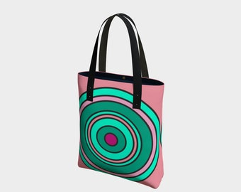 Pink and Green Centricity Tote Bag, Beach Bag