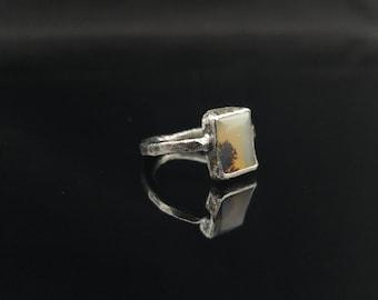 Bague solitaire conception brute de rustique au quotidien Agate Dendrite bijoux bijoux de pierres précieuses cadeau pour ses pierres précieuses bijoux argent anneau souvenir
