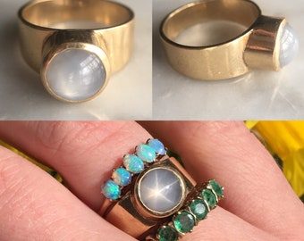 14k Gold Grey Star Sapphire Ring