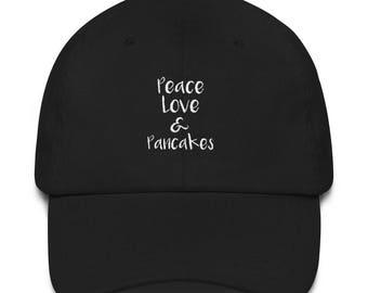 Peace Love & Pancakes Hat Pancake Gift Hat Brunch Hat Breakfast Hat Pancake Lover Dad hat