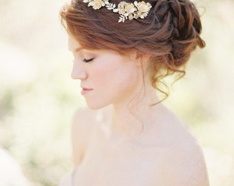 Bridal Hair Comb, Wedding Headpiece, Floral Headpiece, Bridal Headpiece, Gold Hair Comb, Floral Hair Comb, Crystal Hair Comb - Style 208