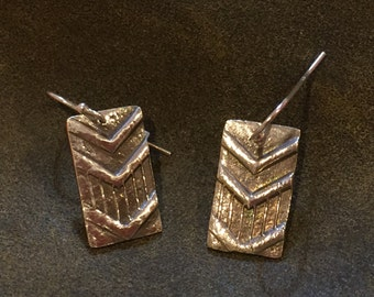 Fine silver chevron earrings