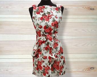 Kitchen Apron, full size apron, floral apron, rose apron, white apron