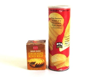 1970s Groceries Food Packaging Pringles Can, None Such Mincemeat Box Borden