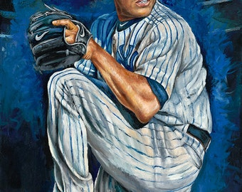 Mariano Rivera - Art Print - Artist Reproduction on Canvas Giclee of former New York Yankees Mariano Rivera