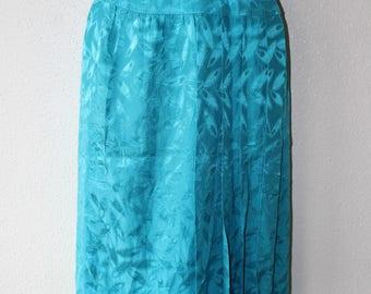 Women's Vintage ARGENTI PETITES High Waist Wrap Calf Length Turquoise Patterned 100% Silk Skirt Size UK6 UK8 / Waist 26 in