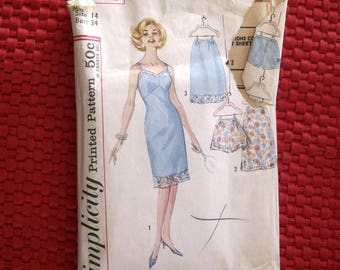 Vintage Simplicity Pattern 4218 Women's Lingerie - Full slip, Half Slip, Tap Pants
