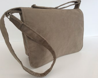 """Suede effect Messenger laptop tablet school travel nappy bag """"The Poppy"""""""