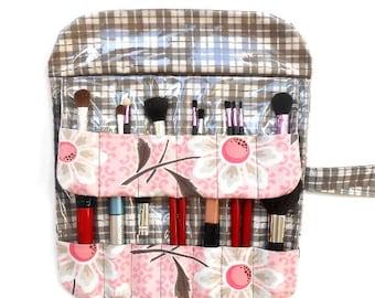Makeup Brush Case, Pink and Grey Floral Travel Cosmetic Bag, Travel Brush Holder, Makeup Brush Carrier, Makeup Brush Bag, Brush Roll Up