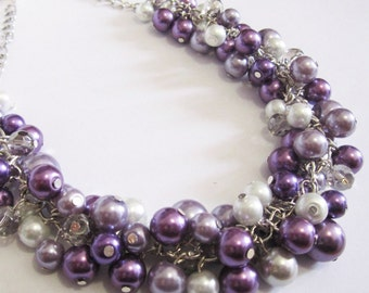 Purple Pearl Necklace Bridesmaid Gift Chunky Cluster Necklace Bridesmaid Necklace Ultra Violet Wedding Bridal Wedding Jewelry Lavender Plum