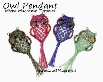 Micro Macrame Owl Pendant Tutorial - Macrame Owl - DIY - Pattern - Jewelry Making Instruction
