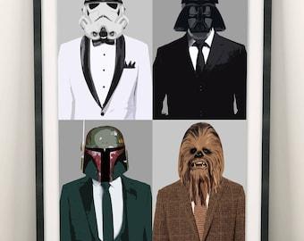Star Wars Characters Darth Vader Boba Fett Stormtrooper  (Limited Edition of 100) - A3 Star Wars Poster Street Art Print Wall Art Gift Rare