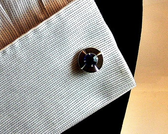 Blue Rhinestone and Silver Cuff Links Vintage Cuff Links Blue Topaz Cuff Links December Birthstone Tuxedo Accessory Free Shipping In USA