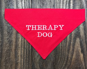 Therapy Dog Over the Collar Dog Bandana, Therapy Dog Bandana