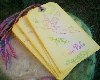 Pixie Pals Gift Tags Set of 10 Flower Fairy Birthday Thank You Tags Pastel Rainbow Pixie Pals gift Tags Bookmark